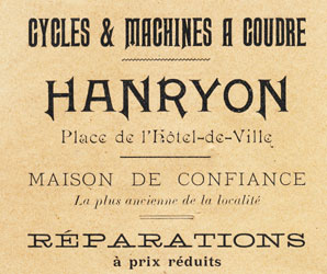 Cycles et machines à coudre Hanryon Pierrefonds 1911